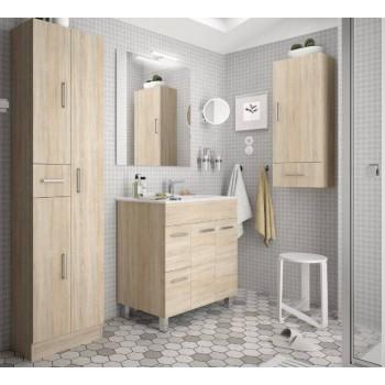 Meuble de salle de bain 700 mm marron Caledonia avec lavabo à encastrer collection Motril