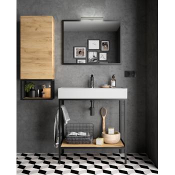Meuble de salle de bain suspendu 1000 mm blanc laque avec lavabo à encastrer collection Noja