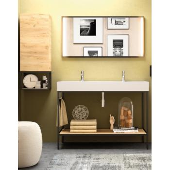 Meuble de salle de bain sur le sol 120 cm en chêne clair avec lavabo Veneto
