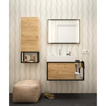 Meuble de salle de bain suspendu 80 cm en chêne clair avec lavabo Veneto 810