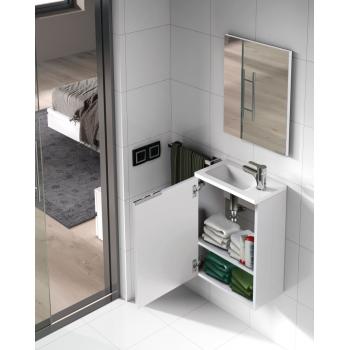 Composition de salle de bain 40 cm couleur nature avec meuble suspendu, miroir et lavabo