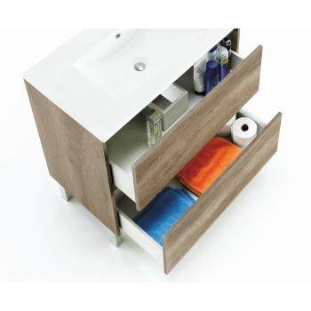 Composition de salle de bain 80 cm avec meuble suspendu couleur Nordik, miroir et lavabo