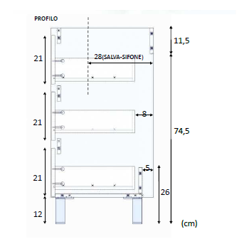 Composition de salle de bain 80 cm avec meuble sous lavabo couleur Nordik, miroir et lavabo
