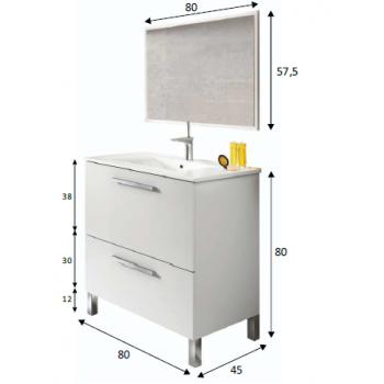 Meuble de salle de bain Dakota sur le sol 80 cm avec miroir