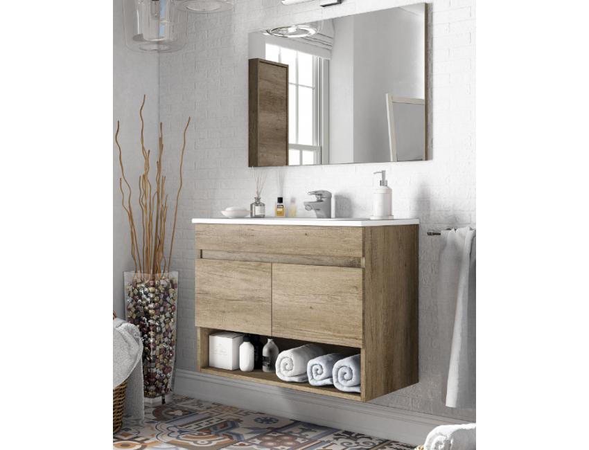 Meuble de salle de bain suspendu 80 cm couleur Nordik avec miroir 305110H  Accessoires Standard Couleur Nordik