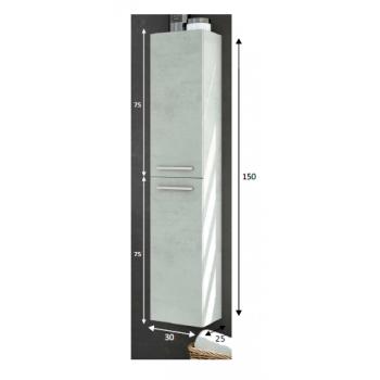 Colonne de salle de bain suspendue 2 portes couleur naturelle