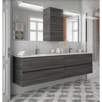 Meuble de salle de bains suspendu 200 cm gris brillant avec miroir