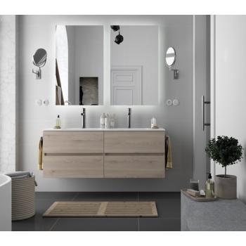 Meuble de salle de bains suspendu 140 cm couleur Alsace avec miroir