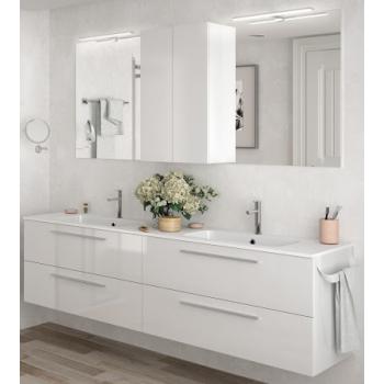 Meuble de salle de bains suspendu 160 cm blanc brillant avec miroir