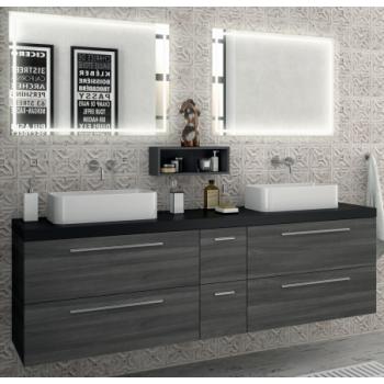 Meuble de salle de bains suspendu 200 cm Alsace avec miroir