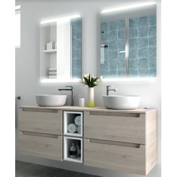 Meuble de salle de bains suspendu 140 cm couleur naturelle avec miroir