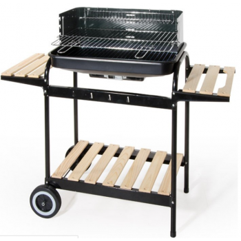 Barbecue à gaz avec roues et armoire four acier thermomètre 4 brûleur piezo huile collecteur grille 4f Deluxe