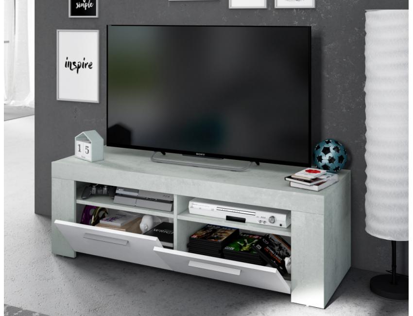 Meuble Tv De Salon 120 Cm Blanc Mat Et Ciment Avec 2 Portes Couleur Couleur Caesaroo S A S