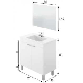 Meuble de salle de bain sur le sol 80 cm Noyer avec miroir