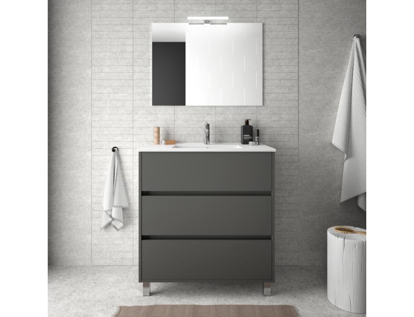 Meuble de salle de bain 600 mm gris opaque avec lavabo à encastrer collection Arenys