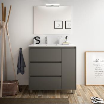 Meuble de salle de bain 80 cm gris opaque avec lavabo en porcelaine