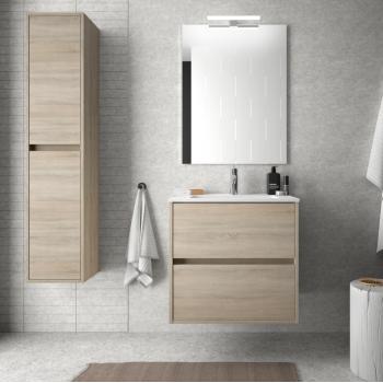 Meuble de salle de bain 60 cm Blanc brillant avec lavabo en porcelaine
