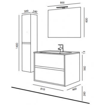 Meuble de salle de bain suspendu 60 cm marron Acacia avec lavabo en porcelaine