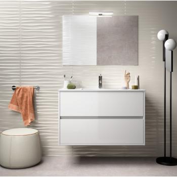 Meuble de salle de bain suspendu 80 cm marron Caledonia avec lavabo en porcelaine
