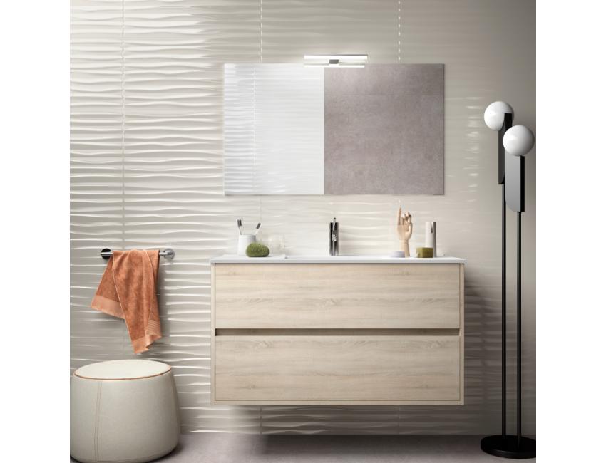 Meuble de salle de bain suspendu 90 cm blanc laque avec lavabo en porcelaine
