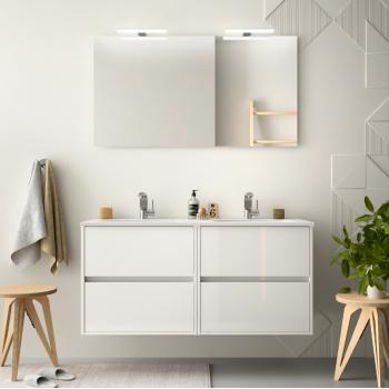 Meuble de salle de bain suspendu 100 cm marron Caledonia avec lavabo en porcelaine