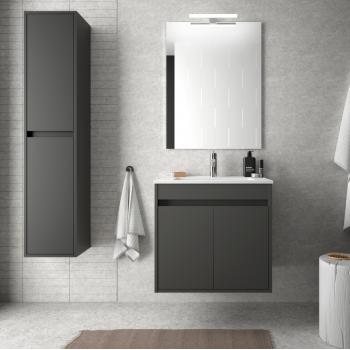 Meuble de salle de bain suspendu 60 cm Blanc laque avec lavabo en porcelaine