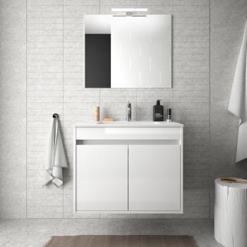 Meuble de salle de bain suspendu 60 cm Blanc laque avec lavabo en porcelaine et deux portes