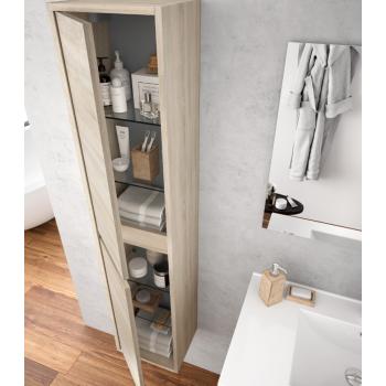 Meuble de salle de bain suspendu 70 cm Blanc laque avec lavabo en porcelaine et deux portes