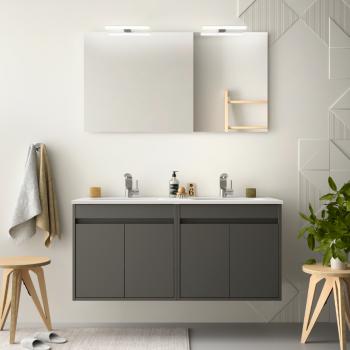 Meuble de salle de bain suspendu 80 cm Blanc laque avec deux portes