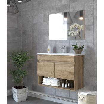 Composition de salle de bain Dakota 80 cm avec meuble sous lavabo couleur Nordik, miroir et lavabo