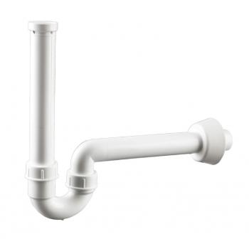 Siphon courbe pour lavabo Ø 40 mm Blanc avec Raccordement 1.1/4 et vidage horizontale