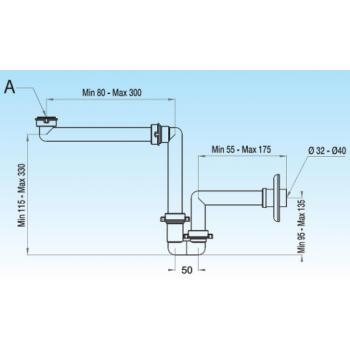 Siphon excentrique pour lavabo/bidet Ø 40 mm blanc en polypropylène avec raccord 1.1/4