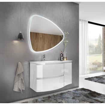 Meuble de salle de bain suspendu 70 cm Blanc laque avec deux portes
