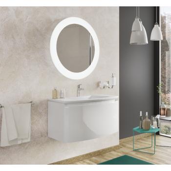 Meuble de salle de bain suspendu 80 cm Apollo Blanc Brillant avec Lavabo