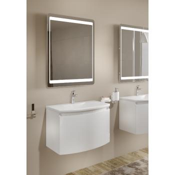 Meuble de salle de bain suspendu 80 cm Venere Blanc Brillant avec Lavabo en céramique