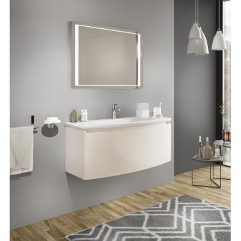 Meuble de salle de bain suspendu 100 cm Venere Blanc Brillant avec Lavabo en céramique