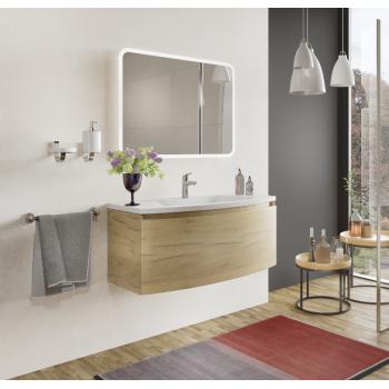 Meuble de salle de bain suspendu 80 cm Venere en bois Nordique avec Lavabo en céramique